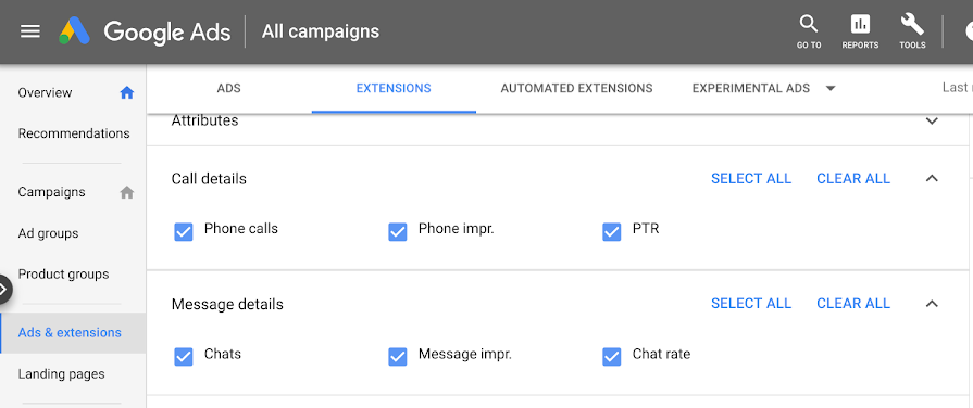 screenshot image of Google Ads phone call reporting