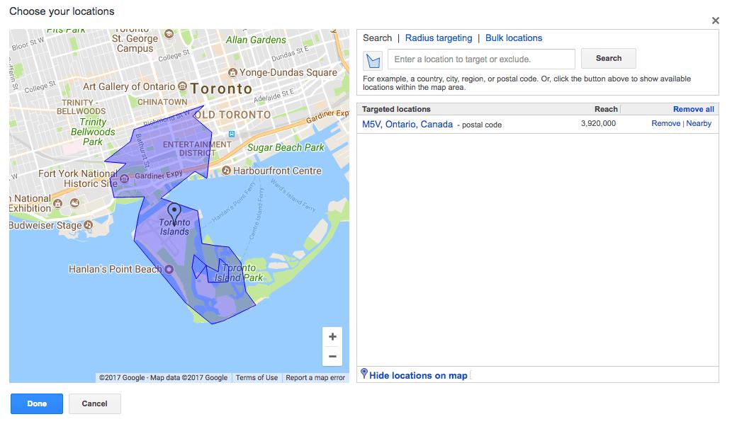 Screenshot of choosing display area for toronto youtube advertising