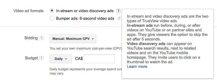 Screenshot of creation of youtbe ad creation