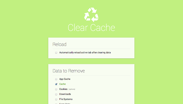Clear Cache Chrome Extension Page