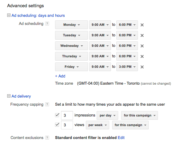 Screenshot of scheduling for toronto youtube advertising