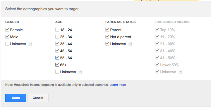 Screenshot showing demographic options for targeting