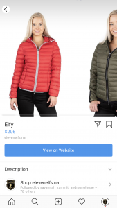 Screenshot of Instagram Shopping image of two options of ElevenElfs Elfy vegan down jacket in Red and Olive.