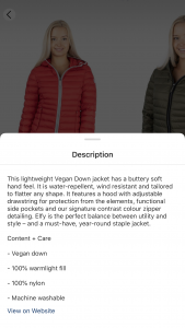 Screenshot of image showing description of ElevenElfs Elfy vegan down jacket.
