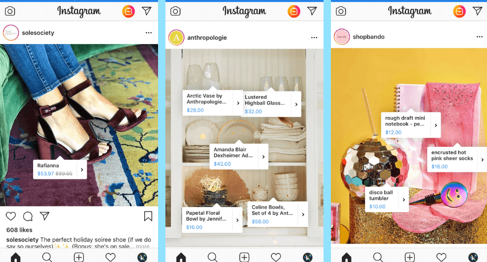 3 depictions of Instagram accounts for brands that feature Instagram Shopping.
