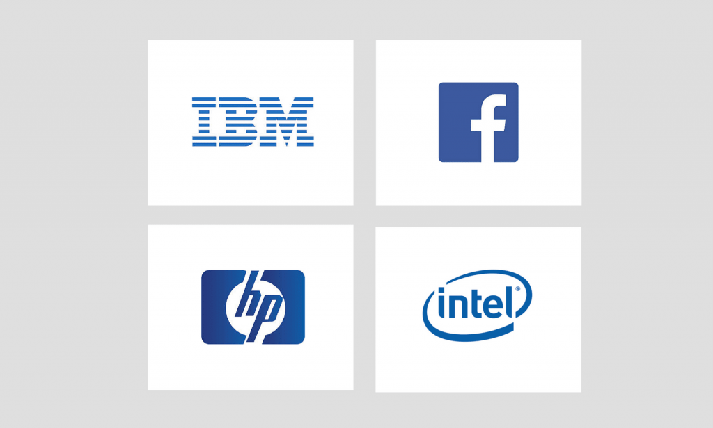 IBM, Facebook, HP, and Intel logo in blue