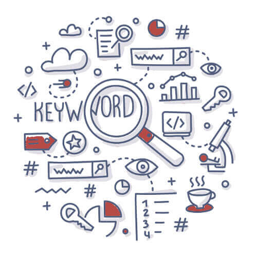 Target Keywords illustration of icons