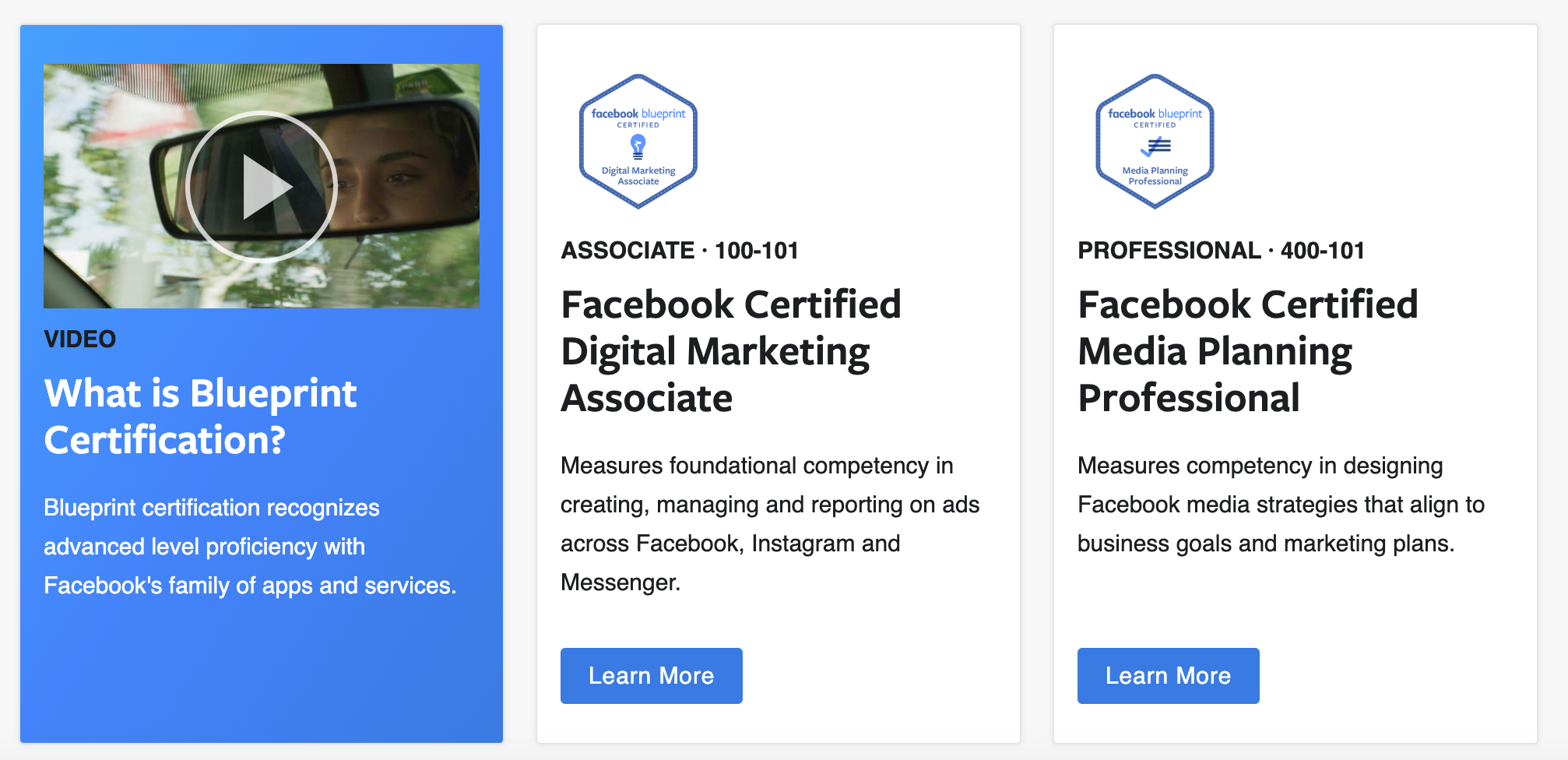 Facebook Blueprint marketing courses selection
