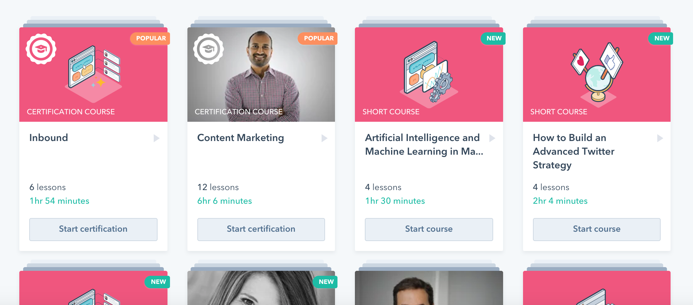 Hubspot marketing courses selection